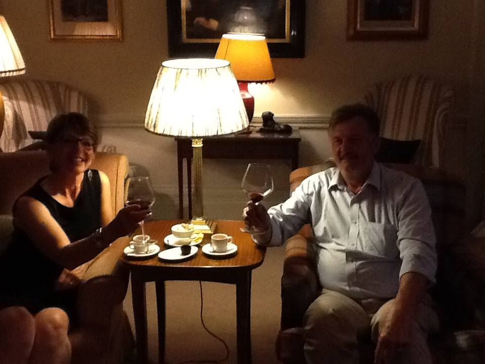 Mandy & Jean-Louis enjoying the wine at Roxburghe Hotel (Borders)