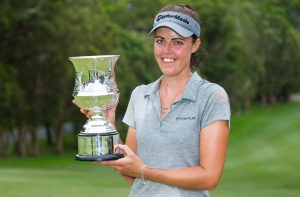 04/03/2018. Ladies European Tour 2018: New South Wales Open, Coffs Harbour Golf Club, Coffs Harbour, New South Wales, Australia. March 1-4 2018. Meghan Maclaren of England with the trophy. Credit: Tristan Jones