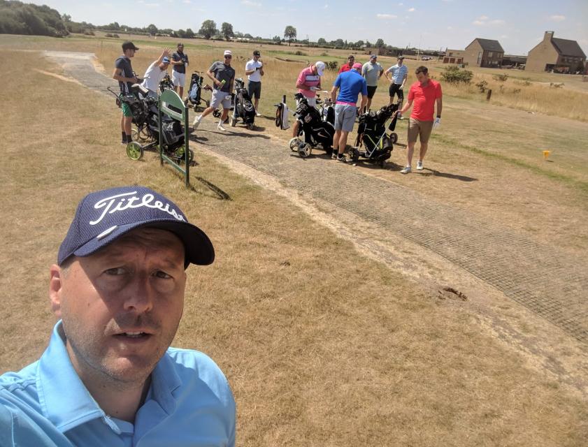DOGS St Ives 1st tee kev selfie